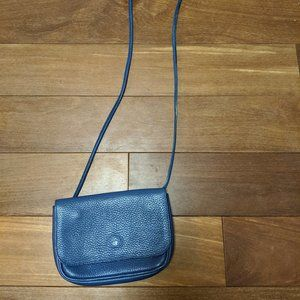Cute Blue Leather Roots Purse with Knotted Strap